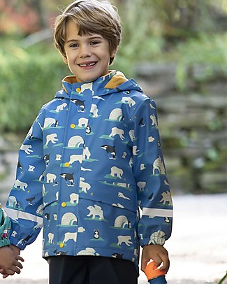 Frugi Giacca Rivestita Puddle Buster, Polar Play - Cuciture Saldate, Impermeabile Giacche