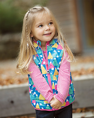 Frugi Gilet Imbottito Reversibile Explorer, Happy Hickers - Eco-friendly, 100% Waterproof! Cardigan