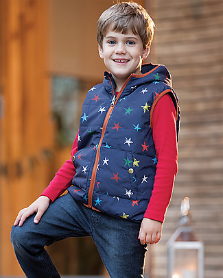 Frugi Gilet Imbottito Reversibile Explorer, Stelline/Righe - Eco-friendly, 100% Waterproof! Cardigan