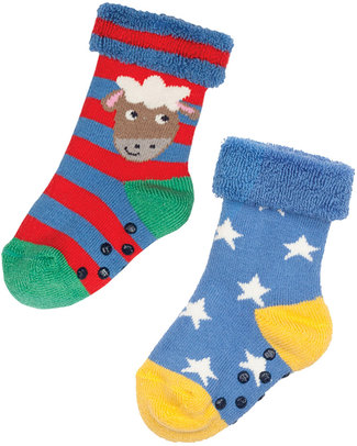 Frugi Grippy Socks 2 Pack - Sheep Multipack - Organic Cotton Socks