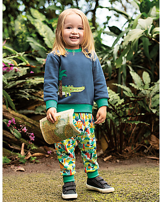 Frugi Jump About Jumper, Space Blue/Crocodile - organic cotton Sweatshirts
