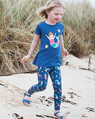 Frugi Leggings Libby, Marine Blue Mermaid Magic - Cotone bio elasticizzato Leggings