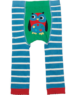 Frugi Little Knitted Leggings, Harbour Blue/Owl - 100% organic cotton (soft and non scratchy) Leggings
