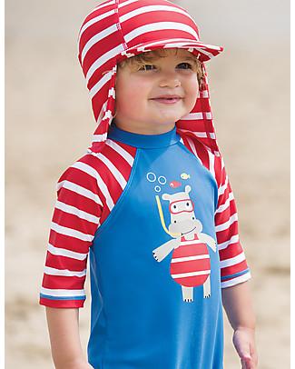 Frugi Little Swim Legionnaires Hat, Tomato Print Stripe - UPF 50+ Hats