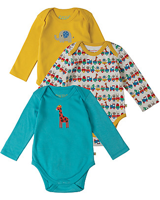 Frugi Long Sleeved Body, Alphabet Train - Pack of 3 - 100% Organic Cotton Short Sleeves Bodies