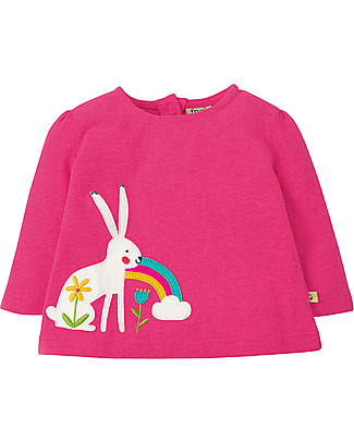Frugi Mabel Applique Top , Flamingo/Arctic Hare - 100% organic cotton Long Sleeves Tops