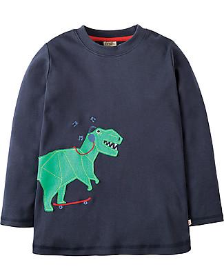 Frugi Maglia a Maniche Lunghe Joe, Blu/Dinosauro - 100% cotone bio Maglie Manica Lunga