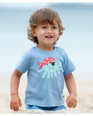 Frugi Maglia Blu con Applique Piovra Pirata - 100% Cotone Bio - ULTIMI tg 3-6 e 12-18 IN OFFERTA! T-Shirt e Canotte
