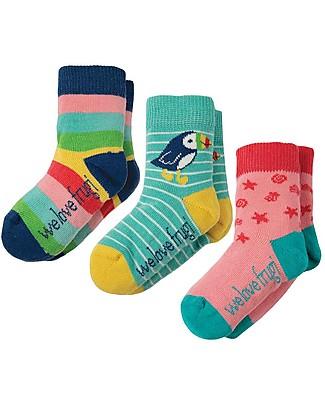Frugi Pacco da 3 Calzini Little Socks (0-4 anni), Arcobaleno - Cotone Bio Elasticizzato Calzini