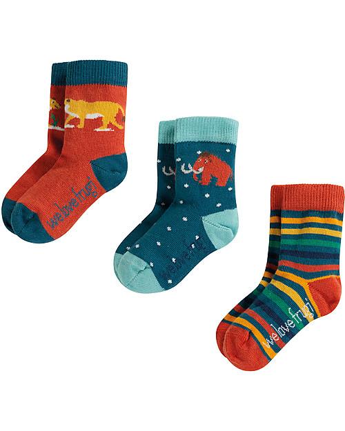 Frugi Pacco da 3 Calzini Little Socks (0-4 anni), Preistoria - Cotone Bio Elasticizzato Calzini