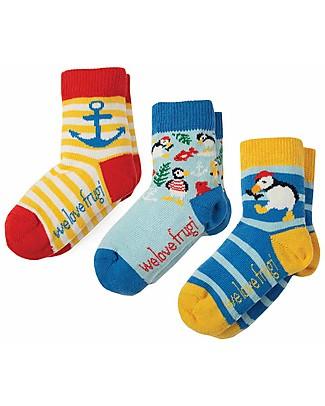 Frugi Pacco da 3 Calzini Little Socks (0-4 anni), Puffino - Cotone Bio Elasticizzato Calzini