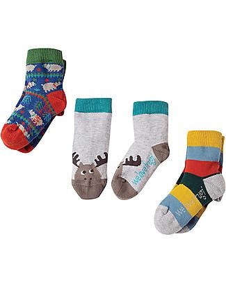 Frugi Pacco da 3 Calzini Little Socks, Alce - Cotone bio elasticizzato Calzini
