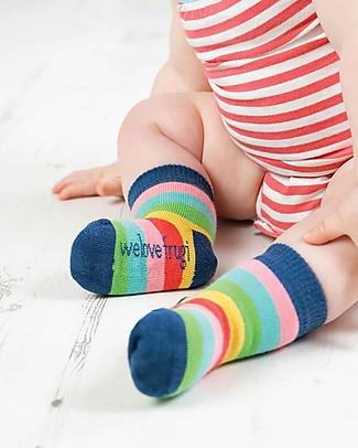 Frugi Pacco da 3 Calzini Little Socks, Arcobaleno - Cotone bio elasticizzato Calzini