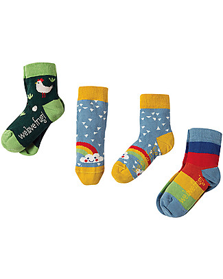 Frugi Pacco da 3 Calzini Little Socks, Gallinella - Cotone bio elasticizzato Calzini
