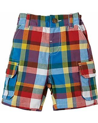 Frugi Pantaloncini a Quadri, Scilly Check (2-4 anni) - Cotone Bio Pantaloni Corti