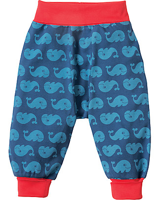Frugi Pantaloni con Cavallo Basso, Balene - 100% cotone bio Pantaloni Lunghi
