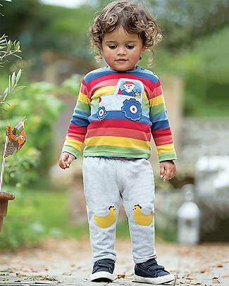 Frugi Pantaloni con Toppe Applique Playtime, Gallinelle - 100% cotone bio Pantaloni Lunghi