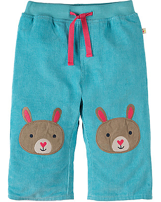 Frugi Pantaloni in Velluto Millerighe con Toppe Applique, Acqua/Coniglietto - 100% cotone bio Pantaloni Lunghi