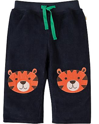 Frugi Pantaloni in Velluto Millerighe con Toppe Applique, Blu/Tigre - 100% cotone bio Pantaloni Lunghi