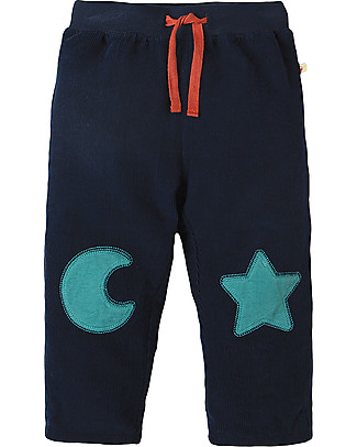 Frugi Pantaloni in Velluto Millerighe con Toppe Applique, Luna e Stella - 100% cotone bio Pantaloni Lunghi