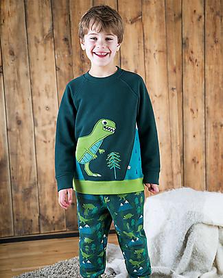 Frugi Pantaloni Tuta con Ginocchia Rinforzate, Dino Trek - 100% felpa di cotone bio Pantaloni Lunghi