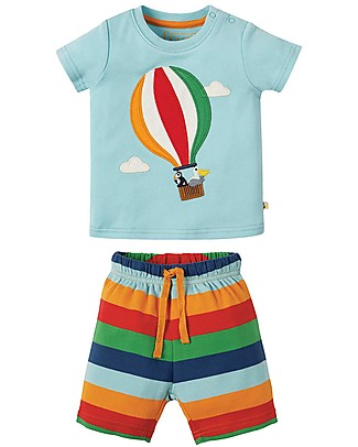 Frugi Pigiama Little Perran, 2 pezzi - Tidal Blue/Hot Air Balloon- Cotone bio Pigiami