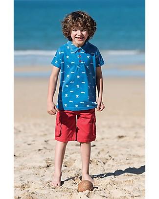 Frugi Polo Penwith, Blu Stampa Teschi - 100% Cotone Bio T-Shirt e Canotte