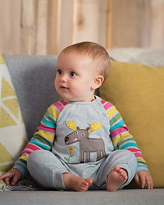 Frugi Raglan Romper with Contrast Sleeves, Grey Marl/Moose - organic cotton Rompers