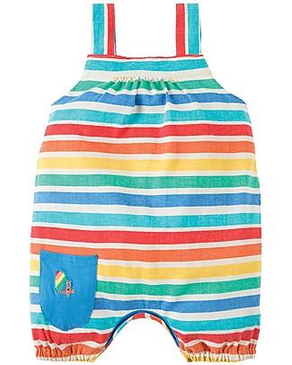 Frugi Salopette Beau Beach, Rainbow Candy Stripe - Jersey di cotone bio Salopette