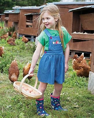 Frugi Salopette Chambray Culotte Dungaree, Chambray/Strawberries - 100% cotone bio Salopette