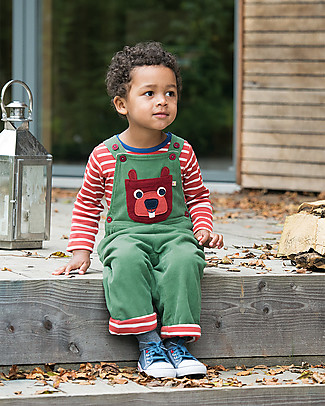 Frugi Salopette Play Days, Moss Green/Beaver - Cotone Bio Salopette