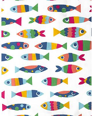 Frugi Set Copripiumino per Letto Singolo, Reversibile - Rainbow Fish - 135x200 cm + federa – 100% Cotone Bio Lenzuola