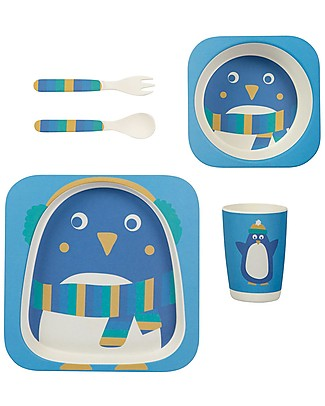 Frugi Set Pappa 5 Pezzi, Pinguino - 100% bambù Set Pappa
