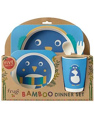 Frugi Set Pappa 5 Pezzi, Pinguino - bambù Set Pappa