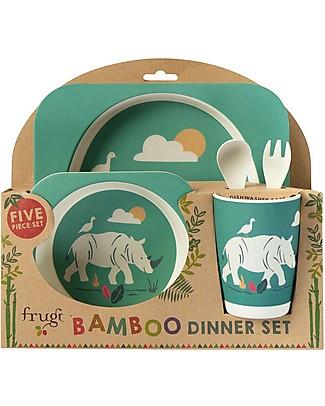 Frugi Set Pappa 5 Pezzi, Rinoceronte - 100% bambù Set Pappa