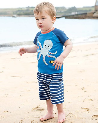 Frugi Shorts a Righe Little Stripy, Marine Blue Breton - 100% Cotone Bio Pantaloni Corti