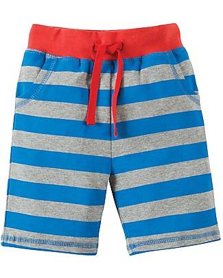 Frugi Shorts a Righe, Righe Blu e Grigie/Scimmia Pantaloni Corti