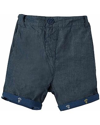 Frugi Shorts Ralph Reversibili, Marine Blue Anchors (4+ anni) - 100% Cotone bio Pantaloni Corti