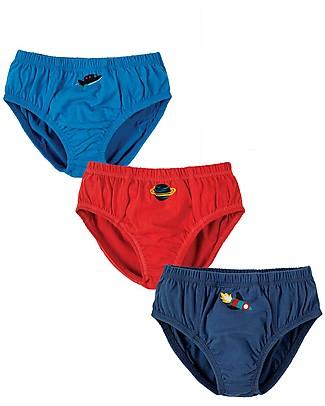 Frugi Slip Preston, Spazio - Pacco da 3 - 100 % Jersey di Cotone Bio Pantaloni Lunghi