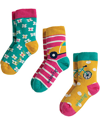 Frugi Susie Socks 3 Pack, Trasport Multipack - Elasticated Organic Cotton Socks