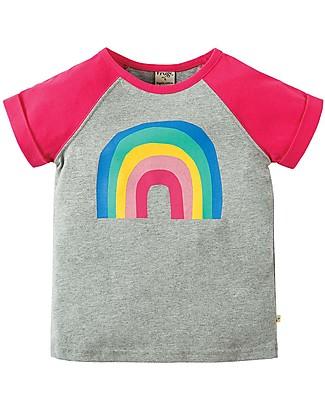Frugi T-Shirt Bimba Nancy, Grigio e Fucsia/Arcobaleno - 100% cotone bio Maglie Manica Lunga