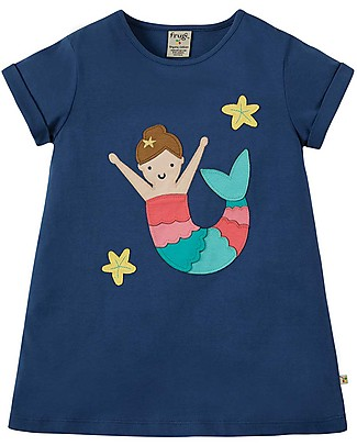 Frugi T-Shirt Bimba Sophie, Marine Blue/Mermaid - 100% cotone bio Top