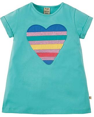 Frugi T-Shirt Bimba Sophie, St Agnes/Sequin Heart - 100% cotone bio Top