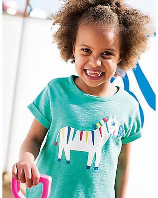 Frugi T-Shirt Bimba Sophie, Verde/Zebra - 100% jersey di cotone bio T-Shirt e Canotte
