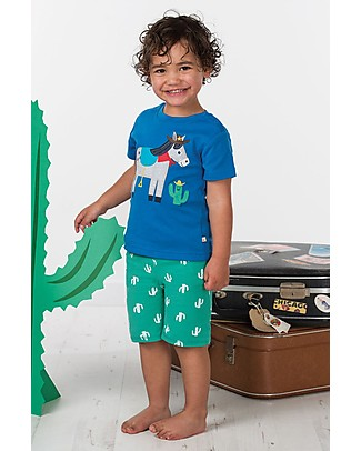 Frugi T-shirt Bimbo Little Creature, Blu/Cavallo - 100% cotone bio T-Shirt e Canotte