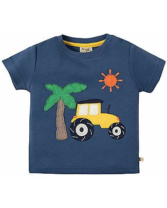 Frugi T-shirt Bimbo Little Creature, Marine Blue/Tractor - 100% cotone bio T-Shirt e Canotte