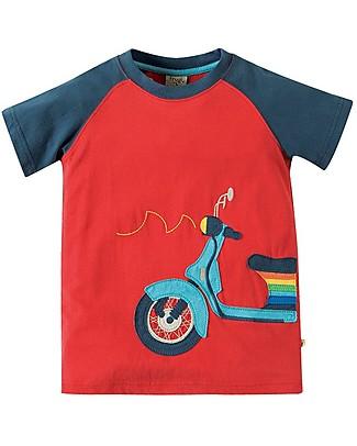 Frugi T-shirt Bimbo Rafe Raglan, Rosso/Scooter - 100% Cotone Bio T-Shirt e Canotte