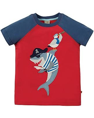 Frugi T-shirt Bimbo Rafe Raglan, Tomato/Shark - 100% Cotone Bio T-Shirt e Canotte