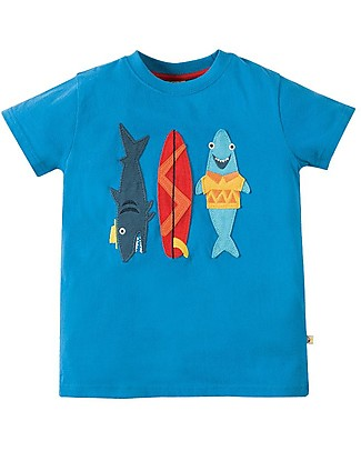 Frugi T-shirt Bimbo Stanley, Blu/Squali - 100% Cotone Bio T-Shirt e Canotte