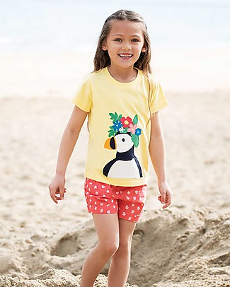 Frugi T-shirt Evie, Sunshine/Puffin - 100% Cotone Bio T-Shirt e Canotte